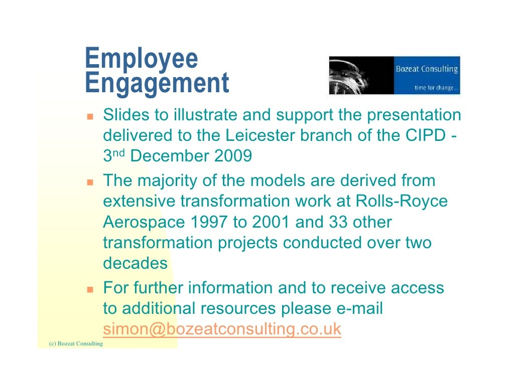 Employee engagement   cipd (leicester branch) presentation 3rd december 2009