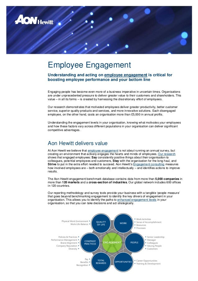 Employee EngagementUnderstanding and acting on employee engagement is critical forboosting employee performance and your b...