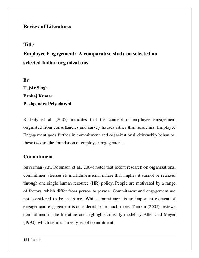 Review of literature on employee engagement