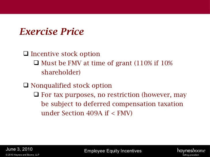 Exercise price of incentive stock options