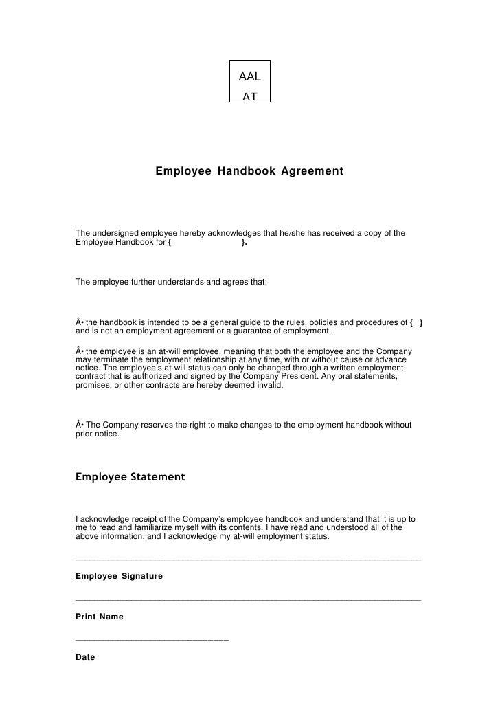 AAL                                              AT                          Employee Handbook Agreement     The undersign...