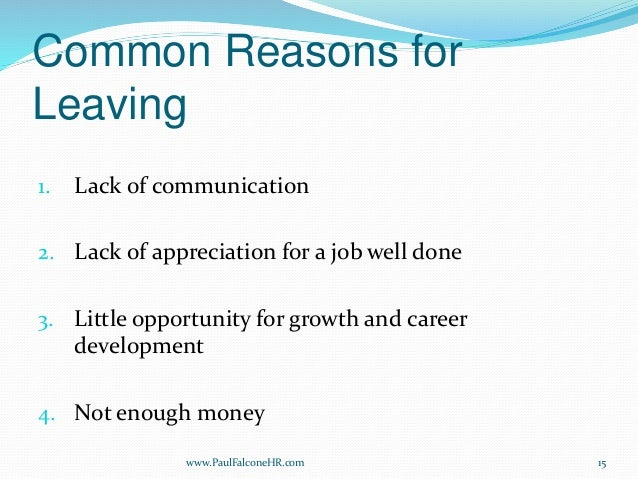 reasons for leaving jobs