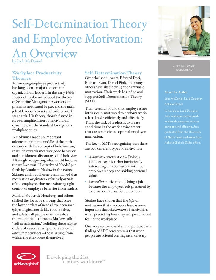 Self-Determination Theory and Employee Motivation: An Overview