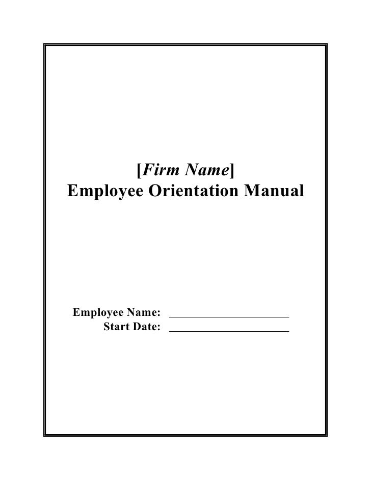 Employee orientation manual for O and m manual template