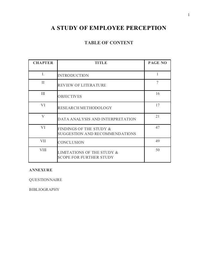 1           A STUDY OF EMPLOYEE PERCEPTION                         TABLE OF CONTENT CHAPTER                    TITLE      ...
