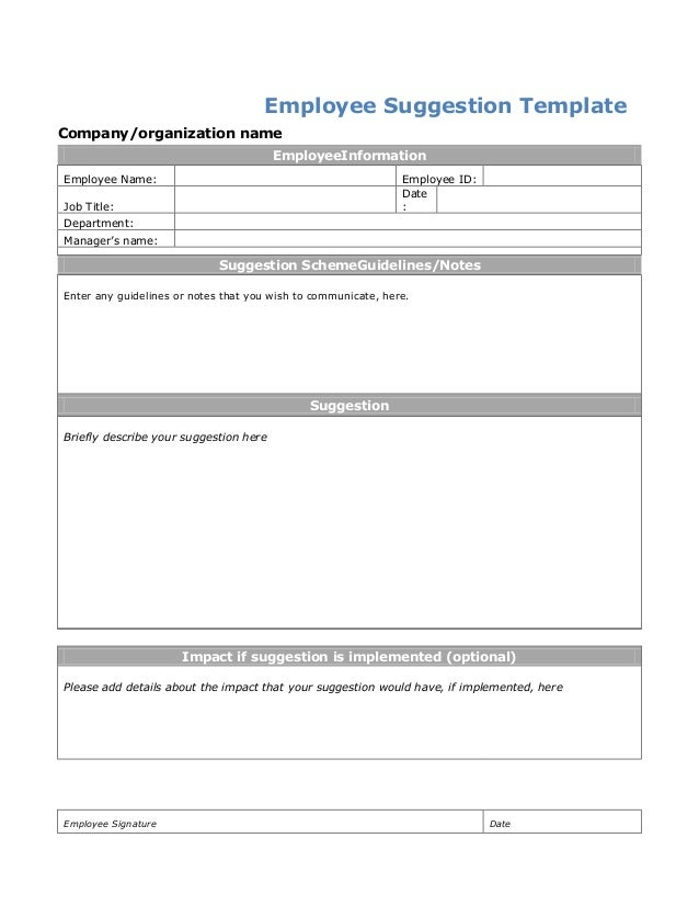 Employee Suggestion Template