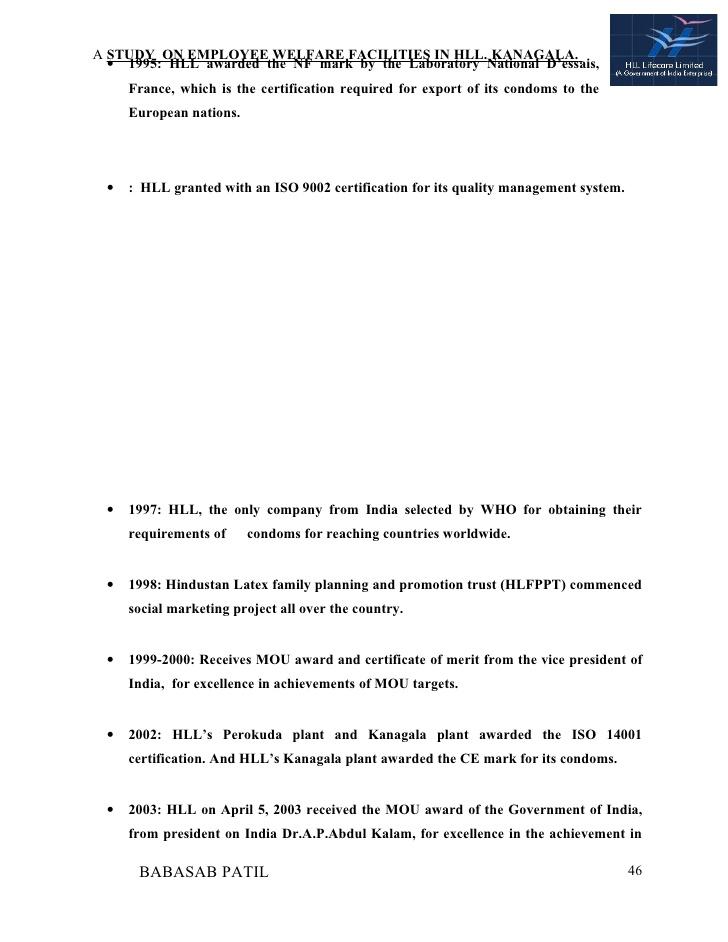 Employee welfare facilities project report