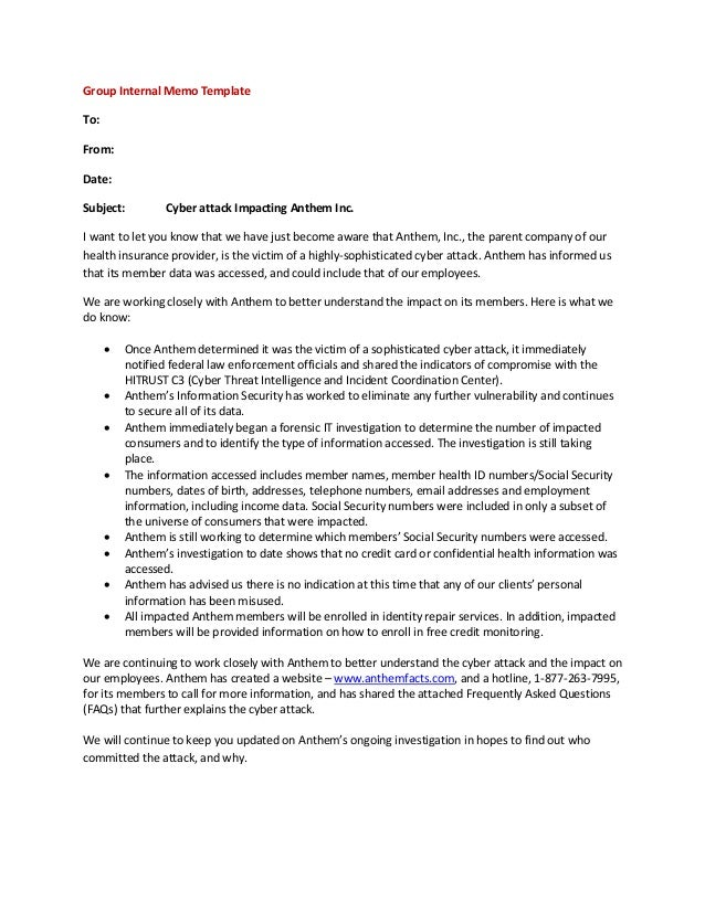 Employer group internal memo template for Template for writing a memo