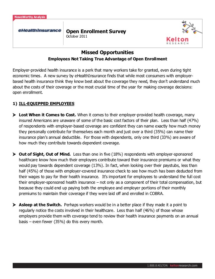 Page 1 of 3 NewsWorthy Analysis                               Open Enrollment Survey                               October...