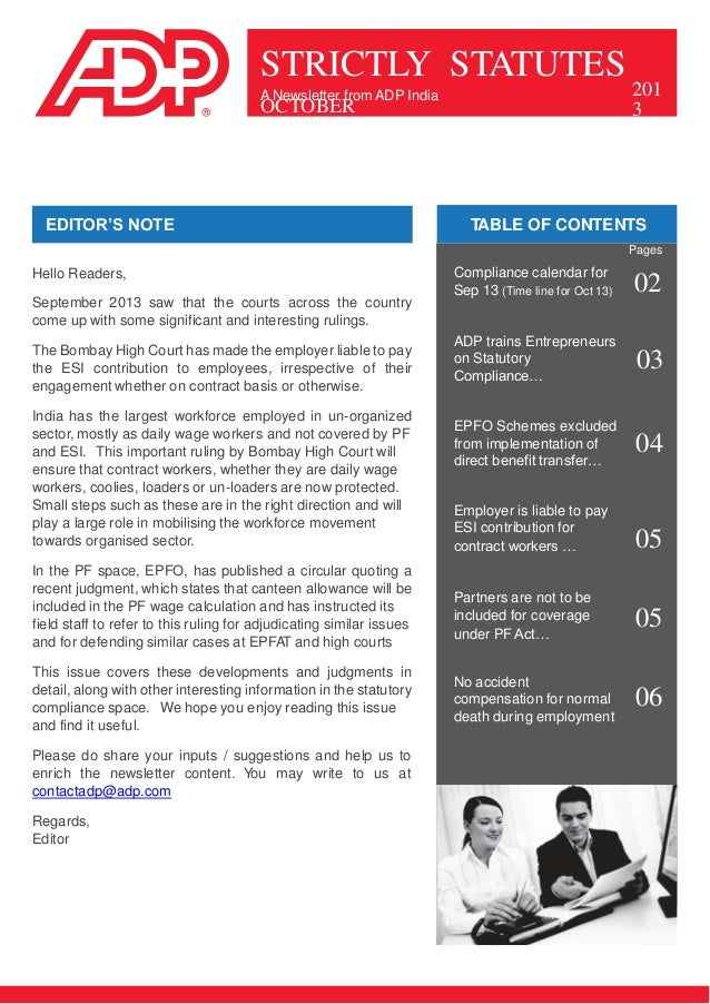 STRICTLY STATUTES A Newsletter from ADP India  OCTOBER  EDITOR'S NOTE  201 3  TABLE OF CONTENTS Pages  Hello Readers, Sept...