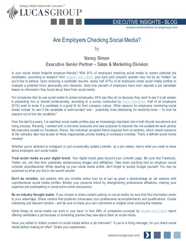 Are Employers Checking Social Media?