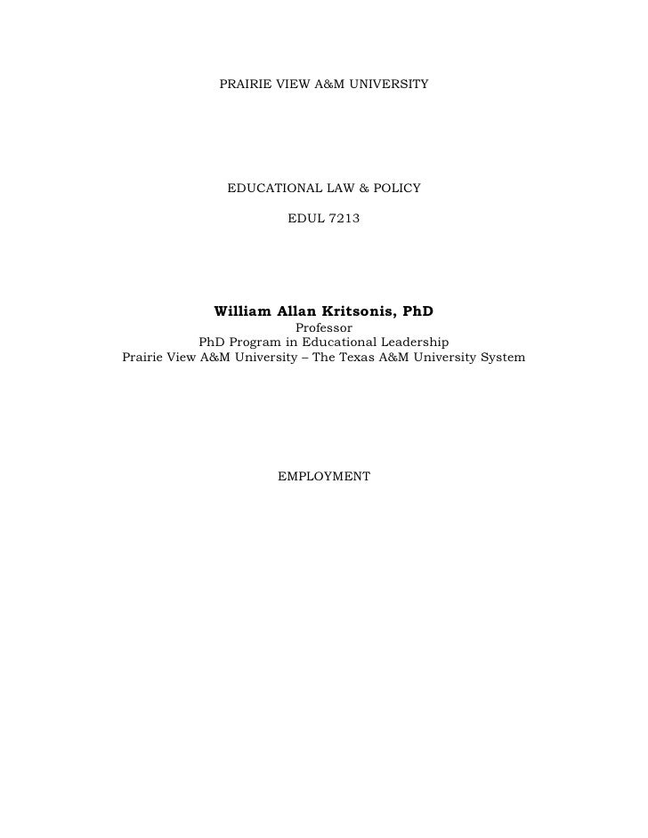 Employment   Essay   Format - Professor William Allan Kritsonis