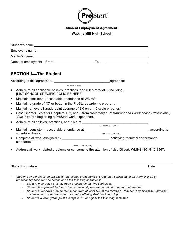 Student Employment Agreement                                                Watkins Mill High School   Student's name Empl...