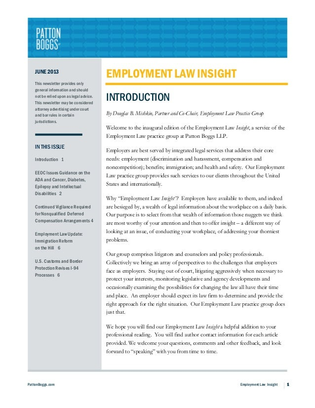 PattonBoggs.com Employment Law Insight 1JUNE 2013This newsletter provides onlygeneral information and shouldnot be relied ...