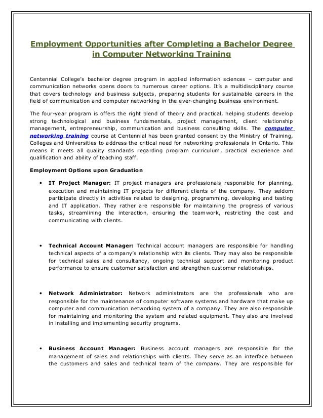 Employment opportunities after completing a bachelor degree in computer networking training