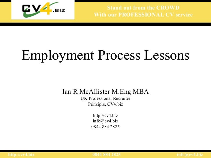 Employment process lessons
