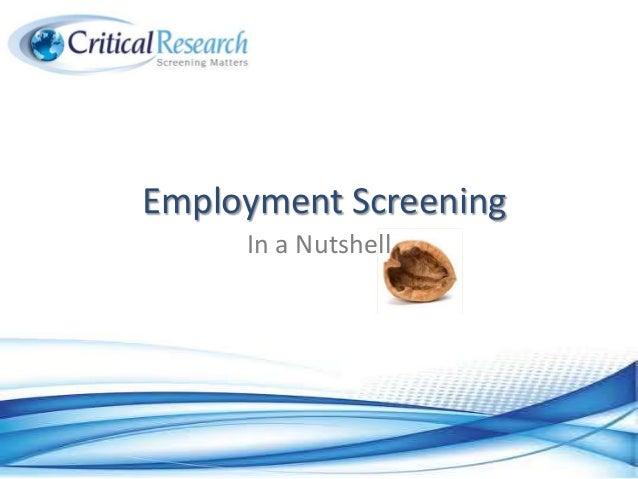 Employment Screening In a Nutshell