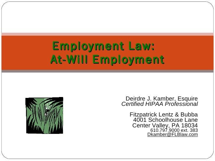 Deirdre J. Kamber, Esquire Certified HIPAA Professional Fitzpatrick Lentz & Bubba 4001 Schoolhouse Lane Center Valley, PA ...