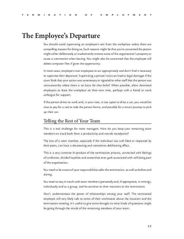 Employment Termination A Guide For Hr by the Cultural Human Resource – Employee Leaving Announcement Sample