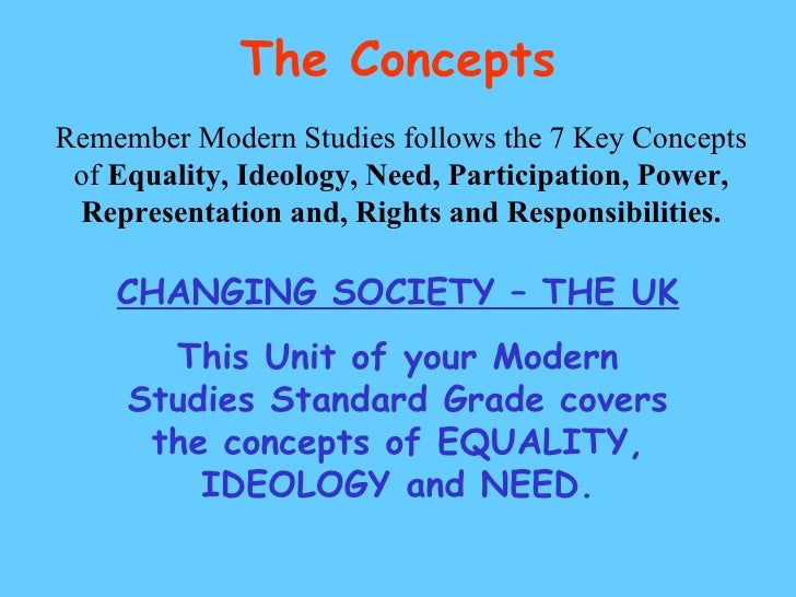 The Concepts Remember Modern Studies follows the 7 Key Concepts of  Equality, Ideology, Need, Participation, Power, Repres...