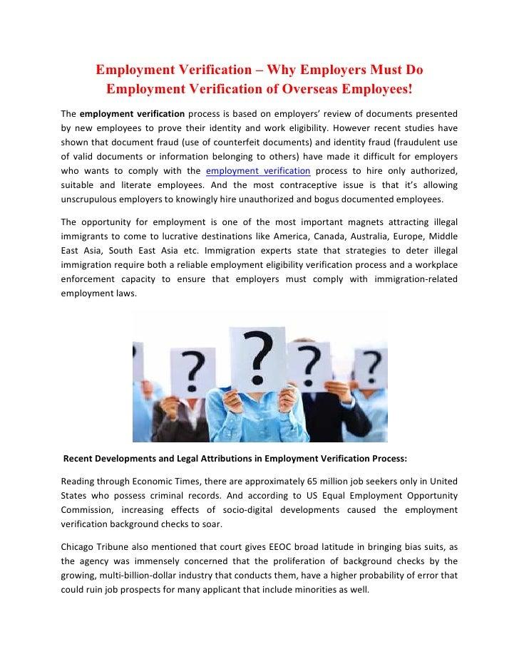 Employment Verification – Why Employers Must Do         Employment Verification of Overseas Employees!The employment verif...