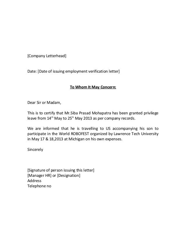 Letter of employment to whom it may concern - Fast Online Help