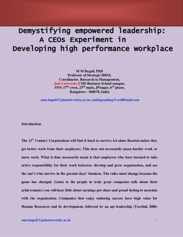 Mm Bagali, PhD, HR, HRD,. HRM, Empower, PhD, Research paper, B-School, MBA