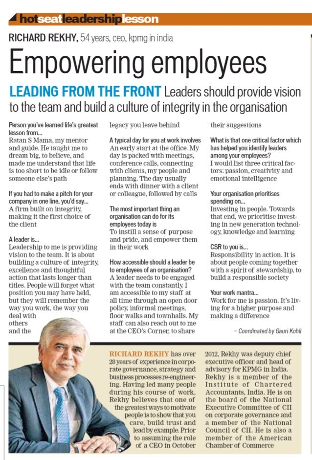Empowering Employees - Richard Rekhy, CEO @KPMGIndia