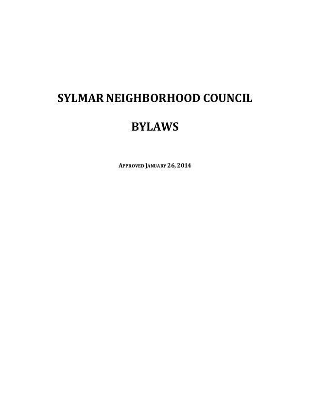 SYLMAR NEIGHBORHOOD COUNCIL BYLAWS APPROVED JANUARY 26, 2014