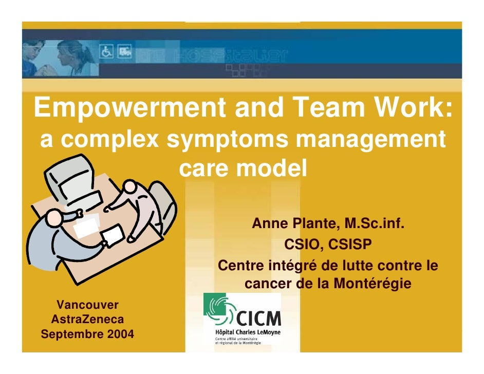 Empowerment and Team Work: a complex symptoms management            care model                       Anne Plante, M.Sc.inf...