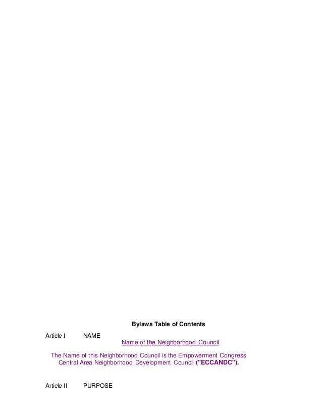 Bylaws Table of Contents Article I  NAME Name of the Neighborhood Council  The Name of this Neighborhood Council is the Em...