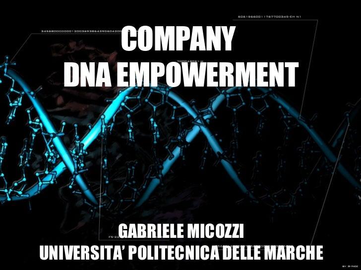 COMPANY DNA EMPOWERMENT. GABRIELE MICOZZI