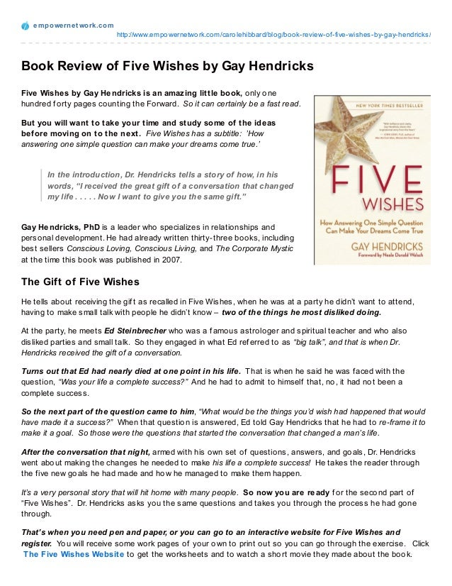 book review of five wishes by gay hendricks