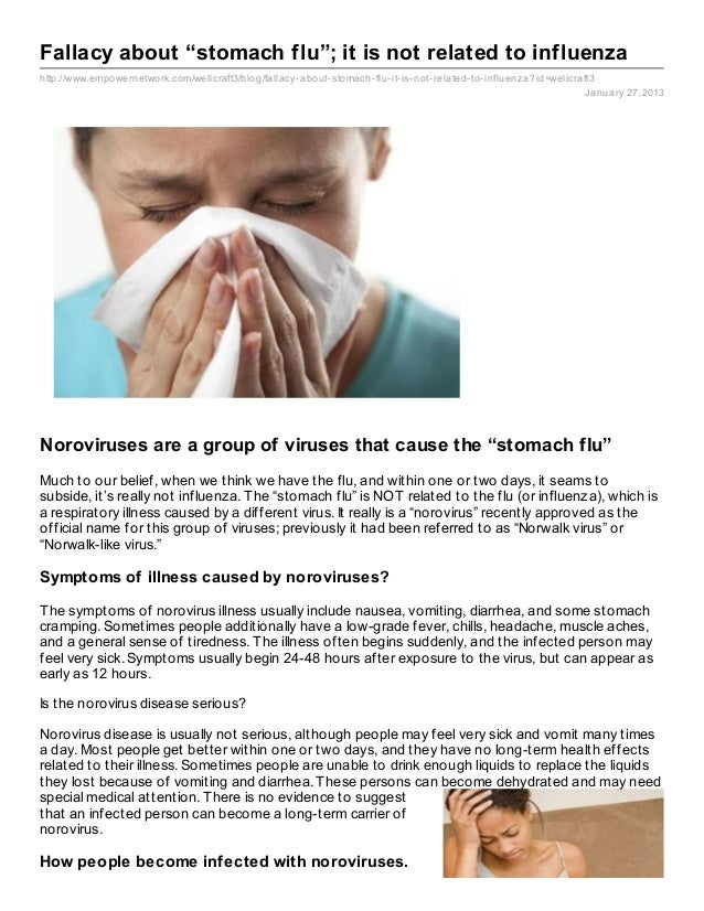 """Fallacy about """"stomach flu""""; it is not related to influenzahttp://www.empowernetwork.com/wellcraft3/blog/fallacy- about- s..."""