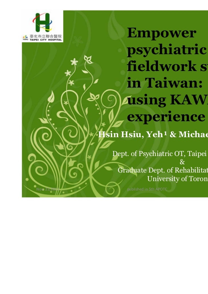 Empower                      psychiatric                      fieldwork students                      in Taiwan:          ...