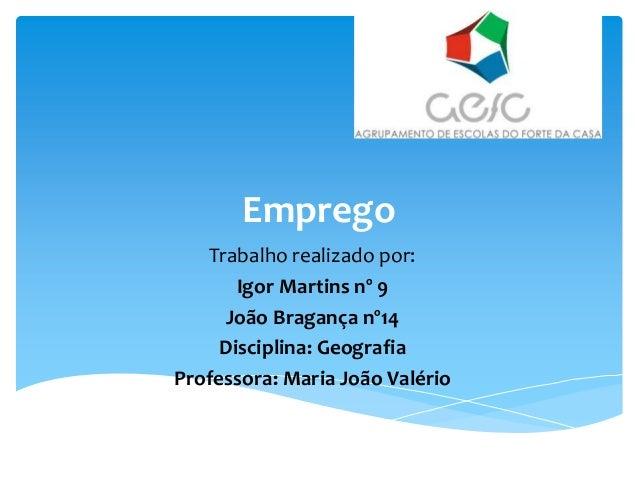 Emprego Trabalho realizado por: Igor Martins nº 9 João Bragança nº14 Disciplina: Geografia Professora: Maria João Valério