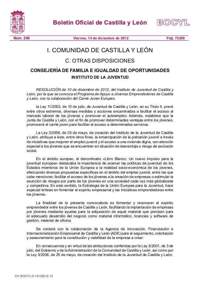 Boletín Oficial de Castilla y LeónNúm. 240                            Viernes, 14 de diciembre de 2012                    ...