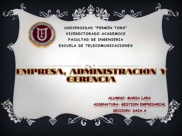 Empresa, Administración y Gerencia