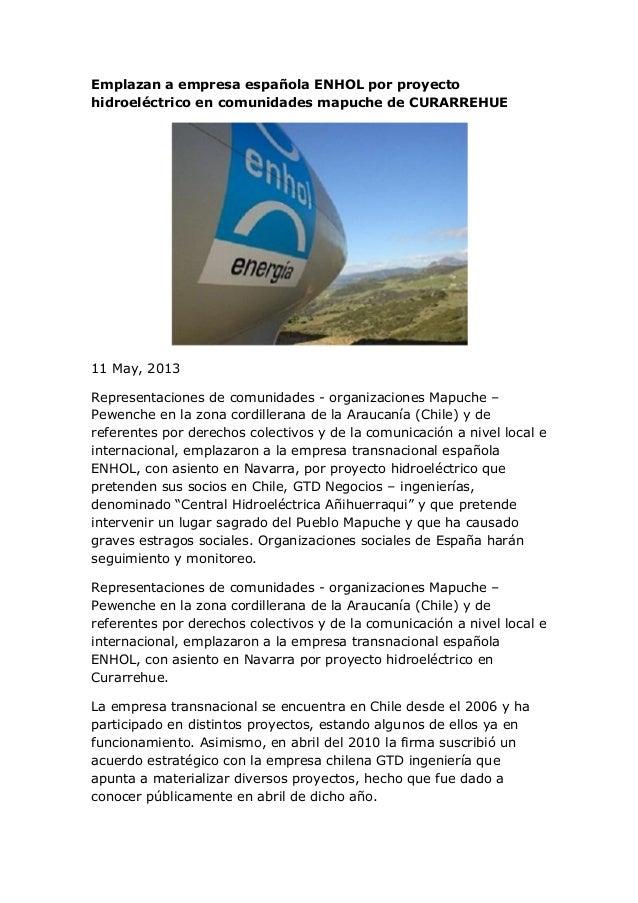 Emplazan a empresa española ENHOL por proyecto hidroeléctrico en comunidades mapuche de CURARREHUE