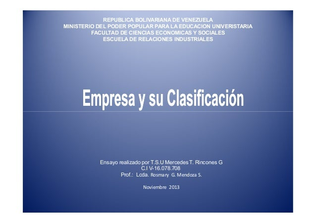 REPUBLICA BOLIVARIANA DE VENEZUELA MINISTERIO DEL PODER POPULAR PARA LA EDUCACION UNIVERISTARIA FACULTAD DE CIENCIAS ECONO...