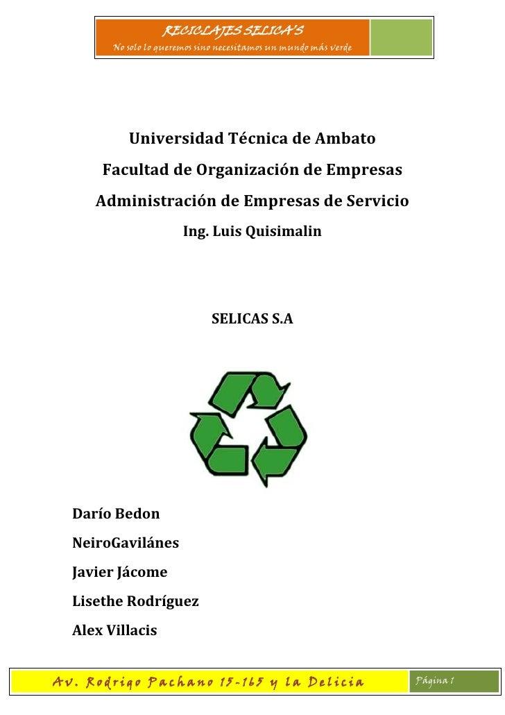 Universidad Técnica de Ambato<br />Facultad de Organización de Empresas<br />Administración de Empresas de Servicio<br />I...