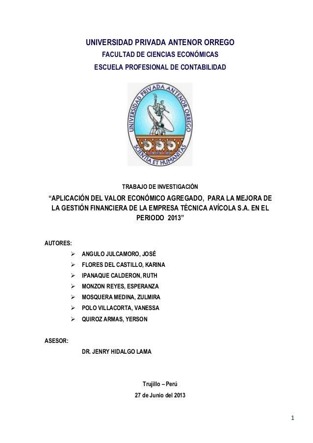 1 UNIVERSIDAD PRIVADA ANTENOR ORREGO FACULTAD DE CIENCIAS ECONÓMICAS ESCUELA PROFESIONAL DE CONTABILIDAD TRABAJO DE INVEST...
