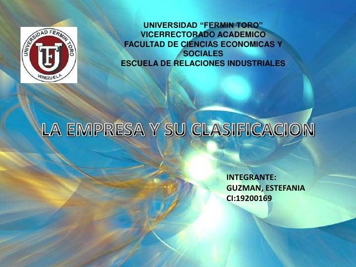 """UNIVERSIDAD """"FERMIN TORO""""    VICERRECTORADO ACADEMICO FACULTAD DE CIENCIAS ECONOMICAS Y             SOCIALESESCUELA DE REL..."""