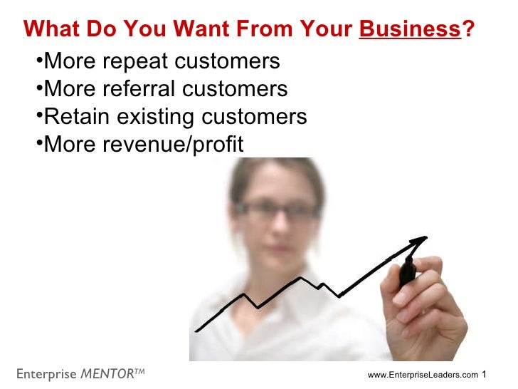 <ul><li>More repeat customers </li></ul><ul><li>More referral customers </li></ul><ul><li>Retain existing customers </li><...