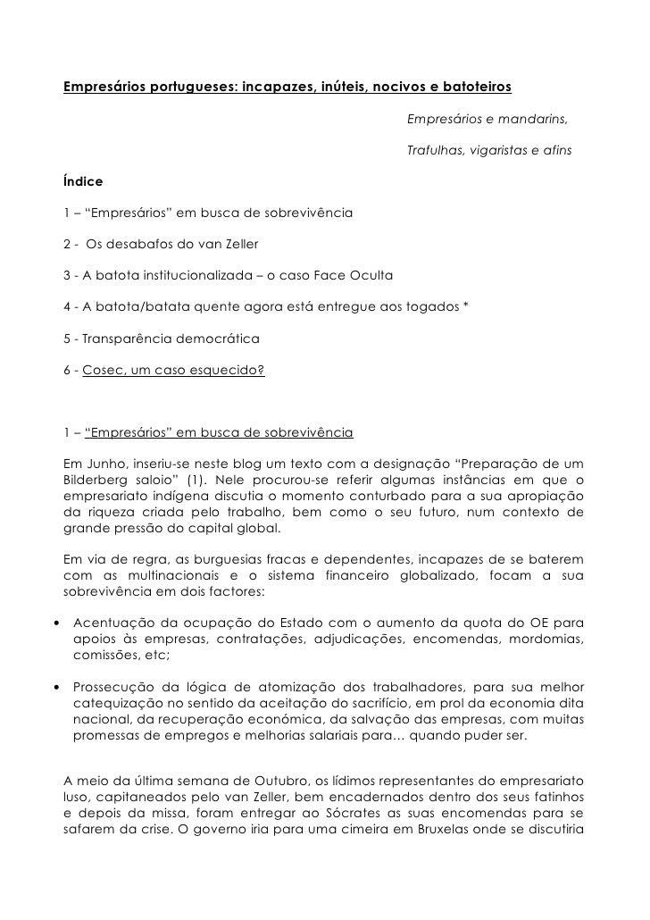 Empresários portugueses   incapazes, inúteis, nocivos e batoteiros