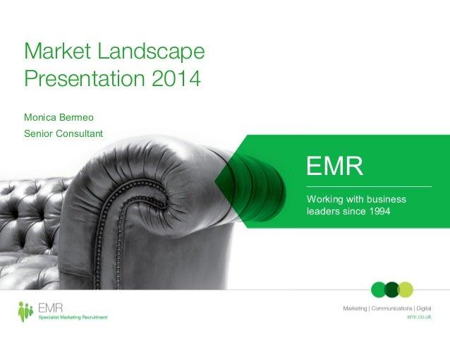 Market Landscape Presentation 2014 Monica Bermeo Senior Consultant EMR Working with business leaders since 1994