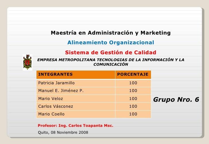 Maestría en Administración y Marketing Alineamiento Organizacional Sistema de Gestión de Calidad EMPRESA METROPOLITANA TEC...