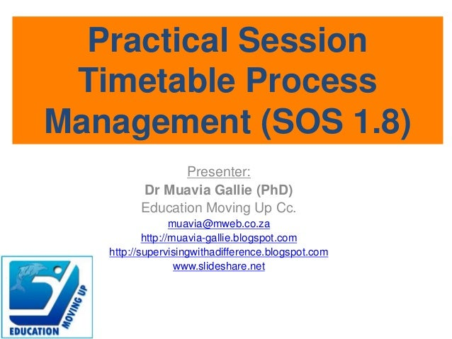Practical session - Timetable process management