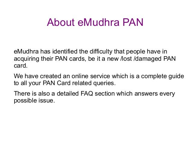 New PAN Card Online, Application form for PAN Card New, Lost or Damaged - eMudhra PAN