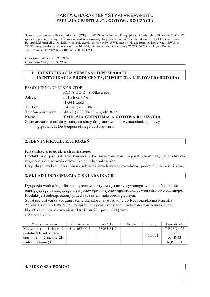 KARTA CHARAKTERYSTYKI PREPARATU                       EMULSJA GRUNTUJACA GOTOWA DO UZYCIA Sporządzona zgodnie z Rozporządz...